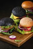 Variety of homemade burgers Stock Photography