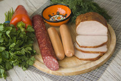 Variety of homemade smoked meat Royalty Free Stock Photography