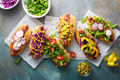 Variety of hot dogs with healthy garnishes Royalty Free Stock Image