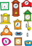 Variety of hours. The illustration shows a wide variety of mechanical and electronic watches. Illustration done in cartoon style on separate layers, on a white Stock Photos