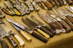 A variety of hunting knives stock photo
