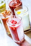Variety of Ice Chilled Healthy Smoothie Shakes Royalty Free Stock Photography