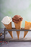 Variety of ice cream cones Royalty Free Stock Photography