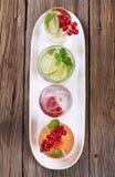 Variety of iced drinks stock photos