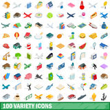 100 variety icons set, isometric 3d style Stock Photos