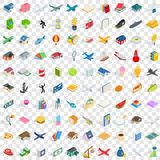 100 variety icons set, isometric 3d style. 100 variety icons set in isometric 3d style for any design vector illustration Stock Image