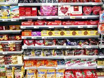 A variety of imported and local chocolate bars and candies Royalty Free Stock Images