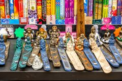 Variety of incense holders on display at Camden Market in London Stock Photo