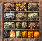 Variety of Indian spices in a wooden box Stock Photos