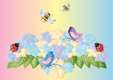A variety of insects on the flowerbed Royalty Free Stock Photos