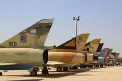 A variety of Israeli Air Force and foreign aircraft on display at The Israeli Air Force Museum Stock Photo