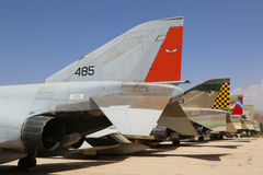 A variety of Israeli Air Force and foreign aircraft on display at The Israeli Air Force Museum Stock Image