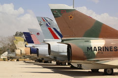 A variety of Israeli Air Force and foreign aircraft on display at The Israeli Air Force Museum. HATZERIM, ISRAEL - MAY 2, 2017: A variety of Israeli Air Force Royalty Free Stock Photo
