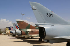 A variety of Israeli Air Force and foreign aircraft on display at The Israeli Air Force Museum. HATZERIM, ISRAEL - MAY 2, 2017: A variety of Israeli Air Force Royalty Free Stock Images