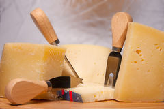 Italian cheeses. Variety of Italian cheeses, parmesan cheese, pecorino, asiago Stock Images