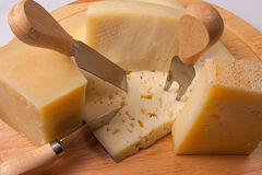 Italian cheeses. Variety of Italian cheeses, parmesan cheese, pecorino, asiago Royalty Free Stock Photography