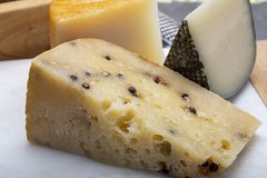 Variety of Italian pecorino cheeses, aged with black peppers from Nebrodi, white Il Palio and black molarotto, close up. Cheese collection, Variety of Italian stock images