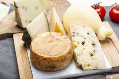 Variety of Italian pecorino and provolone cheeses, yellow aged, with black peppers from Nebrodi, white Il Palio and black. Cheese collection, Variety of Italian royalty free stock photography