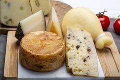 Variety of Italian pecorino and provolone cheeses, yellow aged, with black peppers from Nebrodi, white Il Palio and black. Cheese collection, Variety of Italian stock photo