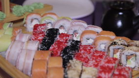 Variety of japanese sushi rolls. Fresh sushi traditional japanese food, HD stock video