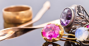 Variety of jewelry made of precious metals Stock Image