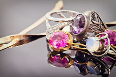 Variety of jewelry made of precious metals Royalty Free Stock Photography