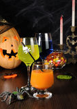 A variety of juices and drinks for Halloween Royalty Free Stock Photo