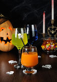 A variety of juices and drinks for Halloween Stock Photos