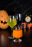 A variety of juices and drinks for Halloween Royalty Free Stock Images