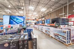 Variety of 4K, UHD, LED, LCD TV on display at Costco wholesale warehouse store