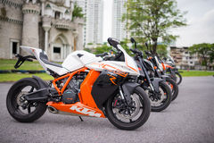 Variety of KTM bikes on display Stock Photo