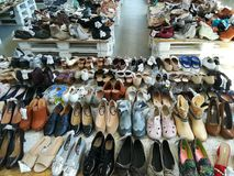 Ladies shoes. Variety of ladies shoes in a shop Stock Image
