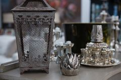 Variety of lamp on table. In living room Royalty Free Stock Photography