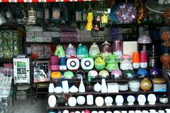 Variety of lamps sold at a store in Dapitan Arcade in Manila, Philippines Stock Photos