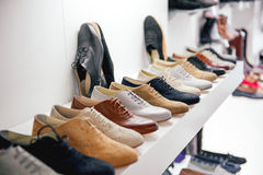 Variety of leather shoes stock photos