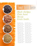Variety or legumes in bowls Stock Photos