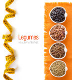 Variety or legumes in bowls Royalty Free Stock Images