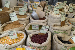 Variety of legumes for sale on the market Royalty Free Stock Photography