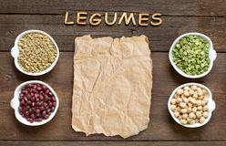 Variety or legumes, the word of Legumes and paper Stock Photos