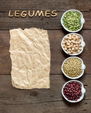 Variety or legumes, the word of Legumes and paper Royalty Free Stock Photos