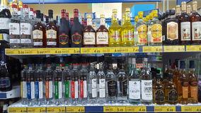 Variety of liquors in an Italian supermarket Stock Photo