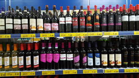 Variety of liquors in an Italian supermarket Royalty Free Stock Photography