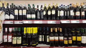 Variety of liquors in an Italian supermarket Royalty Free Stock Image