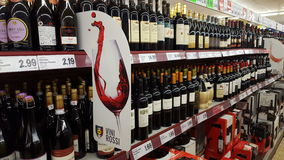 Variety of liquors in an Italian supermarket Royalty Free Stock Photo