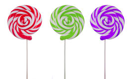 Variety of lollipops on white Stock Photography