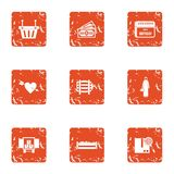 Variety of love icons set, grunge style. Variety of love icons set. Grunge set of 9 variety of love vector icons for web isolated on white background vector illustration