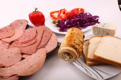 Breakfast from luncheon meat. Variety of luncheon meat on dish with white background Royalty Free Stock Photography