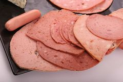 Luncheon meat close up. Variety of luncheon meat on dish with white background Royalty Free Stock Image
