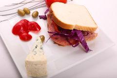 Luncheon sandwich with blue cheese. Variety of luncheon meat on dish with white background Stock Images