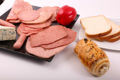 Variety of luncheon meat with bread. Variety of luncheon meat on dish with white background Royalty Free Stock Photo